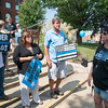 Rally Organizer Jane Diano (right)  speaks to a group of supporters during a True Blue Support Rally in front of the Old Kane County Court House in Geneva, IL on Sunday, September 06, 2015 (Sean King for Shaw Media)