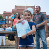 Annabella Palmer, 4, from Geneva, holds up a sign in support of police during a True Blue Support Rally in front of the Kane County Court House in Geneva, IL on Sunday, September 06, 2015 (Sean King for Shaw Media)