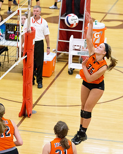 Crystal Lake Centrals' Madelyn Blake (35) goes up for the spike Saturday, Sept. 3rd at the Jacob Varsity Volleyball Innovational held at Jacobs High School in Algonquin. Crystal Lake ended up placing 7th in the tournament. Ken Koontz- For Shaw Media