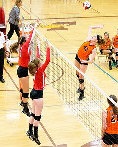 Crystal Lake Centrals' Megan Kelly (42) attacks Marion Centrals' defense Saturday, Sept. 3rd at the Jacob Varsity Volleyball Innovational held at Jacobs High School in Algonquin. Crystal Lake ended up placing 7th in the tournament. Ken Koontz- For Shaw Media
