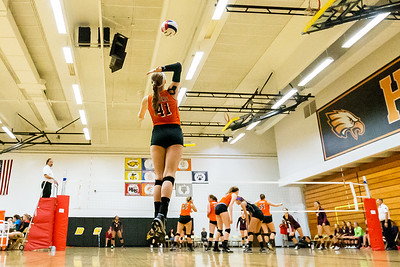 Crystal Lake Centrals's Emily Kelly (41) serves the ball against Belvidere North Saturday, Sept. 3rd at the Jacob Varsity Volleyball Innovational held at Jacobs High School in Algonquin. Crystal Lake ended up finishing 7th in the tournament. Ken Koontz – For Shaw Media