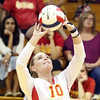 Batavia's Jenna Garrett sets the ball during a match against visiting St. Charles East on Sept. 6.
