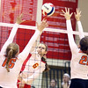 Batavia's Maddy Bower goes up for a kill during a match against visiting St. Charles East on Sept. 6.