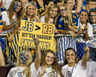 Jophnsburg fans celebrate a 53-0 victory over Richmond-Burton, Friday, Sept. 9, 2016 at Richmond-Burton High School in Richmond.
