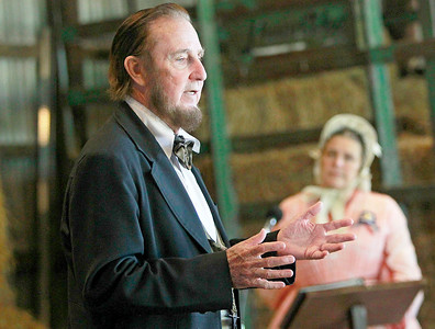 Candace H. Johnson-For Shaw Media President Abraham Lincoln portrayed by Max Daniels, of Wheaton, states his views at a press conference and debate with Jefferson Davis during the Civil War Re-Enactment and Battle at the Northbrook Sports Club in Hainesville.