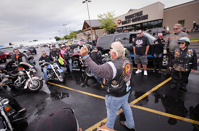 "Riders get directions before the first annual Dwight ""Maddog"" Maness Veteran's Assistance Fund Motorcycle Run at Woodstock Harley-Davidson on Saturday, September 10, 2016 in Woodstock, Ill. The ride goes to the McHenry Moose Lodge where they have a pig roast fundraiser to help military veterans.  John Konstantaras photo for the Northwest Herald"