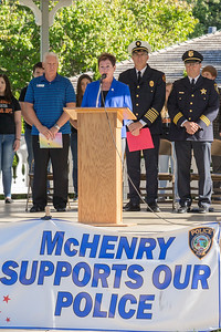 McHenry Mayor Susan Low presides over the September 11th, 2001 remembrance ceremony Sunday, Sept.11, 2016 at Veterans Memorial Park in McHenry. KKoontz for Shaw Media