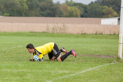 Harvard goalkeeper Jesse Oros (1) makes a save Saturday, Sept. 24th 2016 at Johnsburg High School. Harvard went on to defeat Johnsburg by a score of 3-1. KKoontz – for Shaw Media