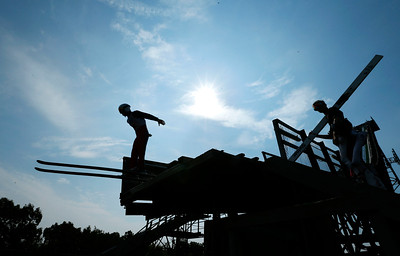 Sebastian Sproch, with the Norge Ski Club takes off during the 31st Annual Norge Autumn Ski Jump on Sunday, September 25, 2016 in Fox River Grove. John Konstantaras – For Shaw Media