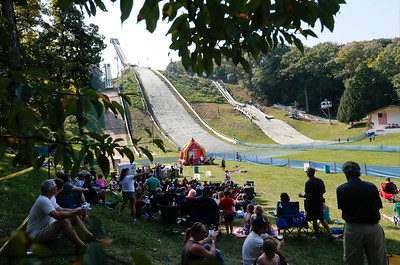 Spectators watch jumpers during the 31st Annual Norge Autumn Ski Jump on Sunday, September 25, 2016 in Fox River Grove. John Konstantaras – For Shaw Media