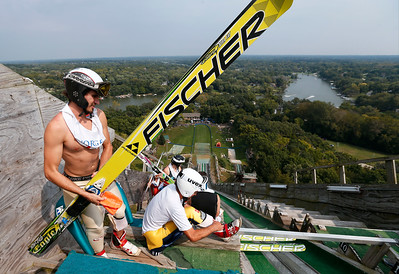 Daniel Englund, with the Kiwanis cSki Club, gets ready at the top of the jump during the 31st Annual Norge Autumn Ski Jump on Sunday, September 25, 2016 in Fox River Grove. John Konstantaras – For Shaw Media