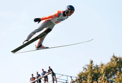 Casey Larson flies through the air on his final jump during the 31st Annual Norge Autumn Ski Jump on Sunday, September 25, 2016 in Fox River Grove. John Konstantaras – For Shaw Media