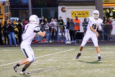 Glenbard West quarterback, Cole Brady, passes to running back Dominick Ficarella during the game at Hinsdale South on Friday, September 2nd. Lorae Mundt for  Shaw Media