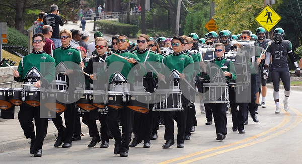The Glenbard West drum corps leads the Hilltoppers to Duchon Field on Saturday, September 24 in Glen Ellyn.  Steve Bittinger for Shaw Media
