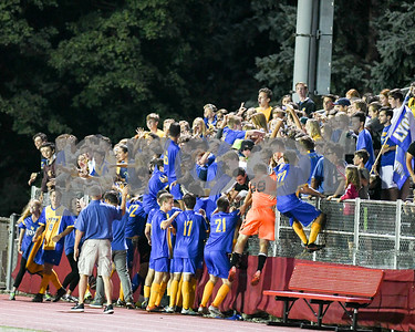 Lyons township soccer player's celebrate with fans after winning in double penalty kicks Friday night over Hinsdale Central. David Toney for Shaw Media