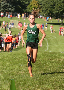 Glenbard West's Katelynn Hart finishes third Saturday, Sept. 3, 2016 at the Hornet-Red Devil Cross Country Invite. Sarah Minor for Shaw Media
