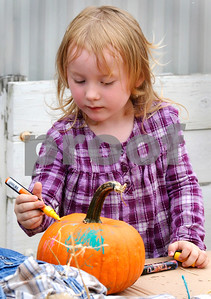 Ella Czernek, 3, of Lombard, decorates a pumpkin at Wannamaker's Home and Garden Fall Festival on Saturday, Septemer 24 in Downers Grove.  Steve Bittinger for Shaw Media