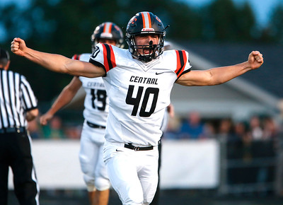 Jack Munn (40) from Crystal Lake Central celebrates a fumble recovery during the first quarter of their game against Crystal Lake South on Friday, September 1, 2017 in Crystal Lake, Illinois. John Konstantaras photo for Shaw Media