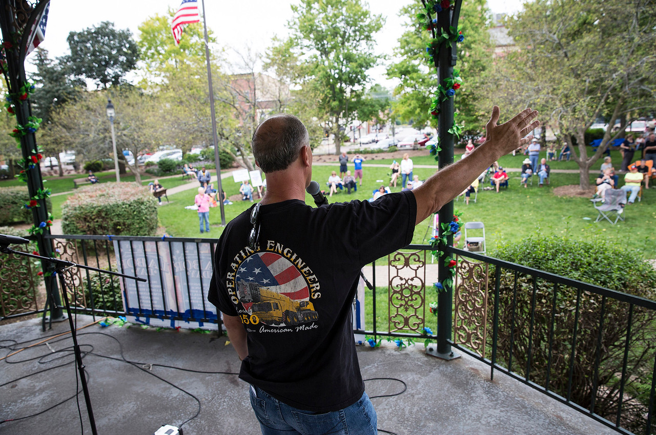 Robert Paddock, with Operating Engineers Local 150, speaks during a Labor Day Celebration in Woodstock Square on Monday, September 4, 2017 in Woodstock, Illinois. The event is held by the McHenry County Progressives in Support of Working Families. John Konstantaras photo for Shaw Media