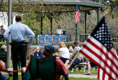 Kristina Zahroik, with the 14th District Democratic State Committee, speaks during a Labor Day Celebration in Woodstock Square on Monday, September 4, 2017 in Woodstock, Illinois. The event is held by the McHenry County Progressives in Support of Working Families. John Konstantaras photo for Shaw Media