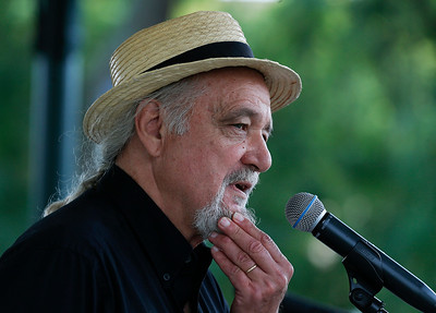 Storyteller Jim May on stage during a Labor Day Celebration in Woodstock Square on Monday, September 4, 2017 in Woodstock, Illinois. The event is held by the McHenry County Progressives in Support of Working Families. John Konstantaras photo for Shaw Media