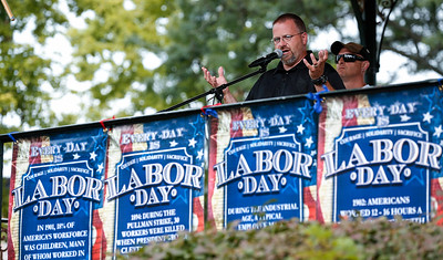 Wally Emmerson, with Automobile Mechanics Union Local 701 speaks during a Labor Day Celebration in Woodstock Square on Monday, September 4, 2017 in Woodstock, Illinois. The event is held by the McHenry County Progressives in Support of Working Families. John Konstantaras photo for Shaw Media