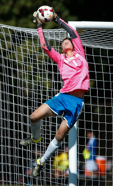 Damian Smiech (1) from Dundee-Crown makes a save during the first half of their game against Larkin on Saturday, September 9, 2017 in Carpentersville, Illinois. John Konstantaras photo for the Shaw Media