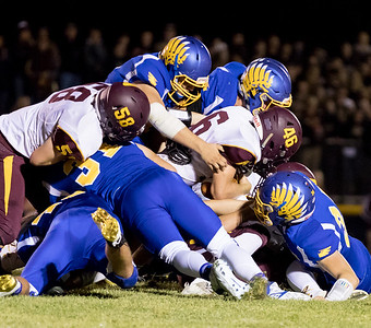 Johnsburg's defense swarms on Richmond-Burton's Michael Kaufman (46) Friday, September 8, 2017 at Johnsburg High School in Johnsburg. Johnsburg goes on to win 34-10. KKoontz- For Shaw Media