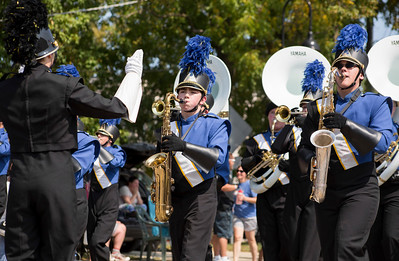 Mike Greene - For Shaw Media  Members of the Johnsburg High School marching band perform during the 45th annual Saufen und Spiel Parade Sunday, September 10, 2017 in Johnsburg. This year's event featured a variety of food vendors, inflatables, live music, as well as the annual Cow Drop raffle.