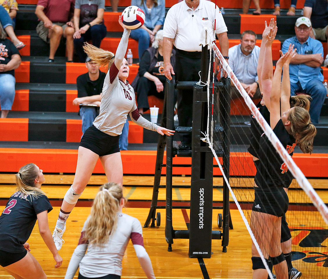 Emily Baudin (10) of Prairie Ridge hits a ball during their first game against Crystal Lake Central on Thursday, 9/14/17 in Crystal Lake, Illinois. The Tigers won the match in 2 games; 25-22, 25-17. John Konstantaras photo for Shaw Media