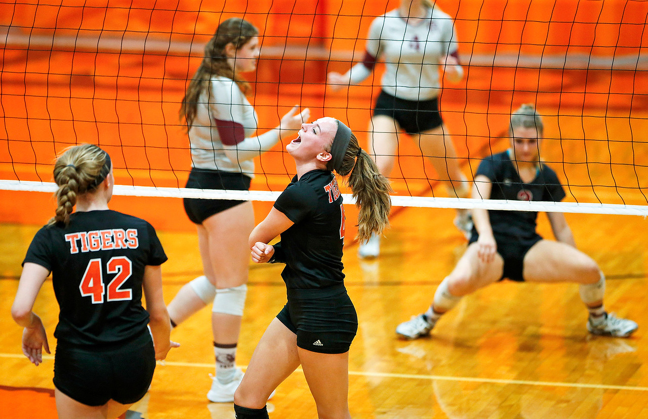 Emily Kelly (41) from Crystal Lake Central celebrates a point during their second game against Prairie Ridge at Crystal Lake Central High School on Thursday, 9/14/17 in Crystal Lake, Illinois. The Tigers won the match in 2 games; 25-22, 25-17. John Konstantaras photo for Shaw Media