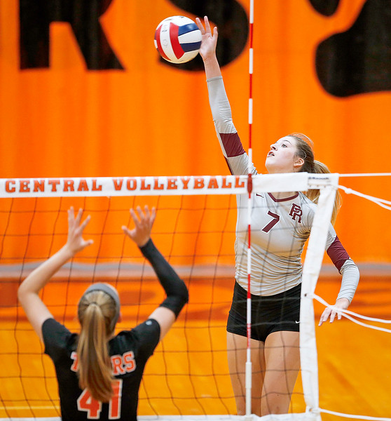 Erin McNeil (7) from Prairie Ridge returns a ball over Emily Kelly (41) from Crystal Lake Central during their second game at Crystal Lake Central High School on Thursday, 9/14/17 in Crystal Lake, Illinois. The Tigers won the match in 2 games; 25-22, 25-17. John Konstantaras photo for Shaw Media