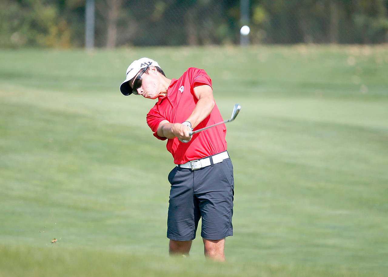 Dundee-Crown's JP Anderson hits from a fairway during the Dundee-Crown Charger Boys Golf Invitational at Randall Oaks Golf Club on Saturday, 9/16/17 in West Dundee, Illinois. John Konstantaras photo for Shaw Media