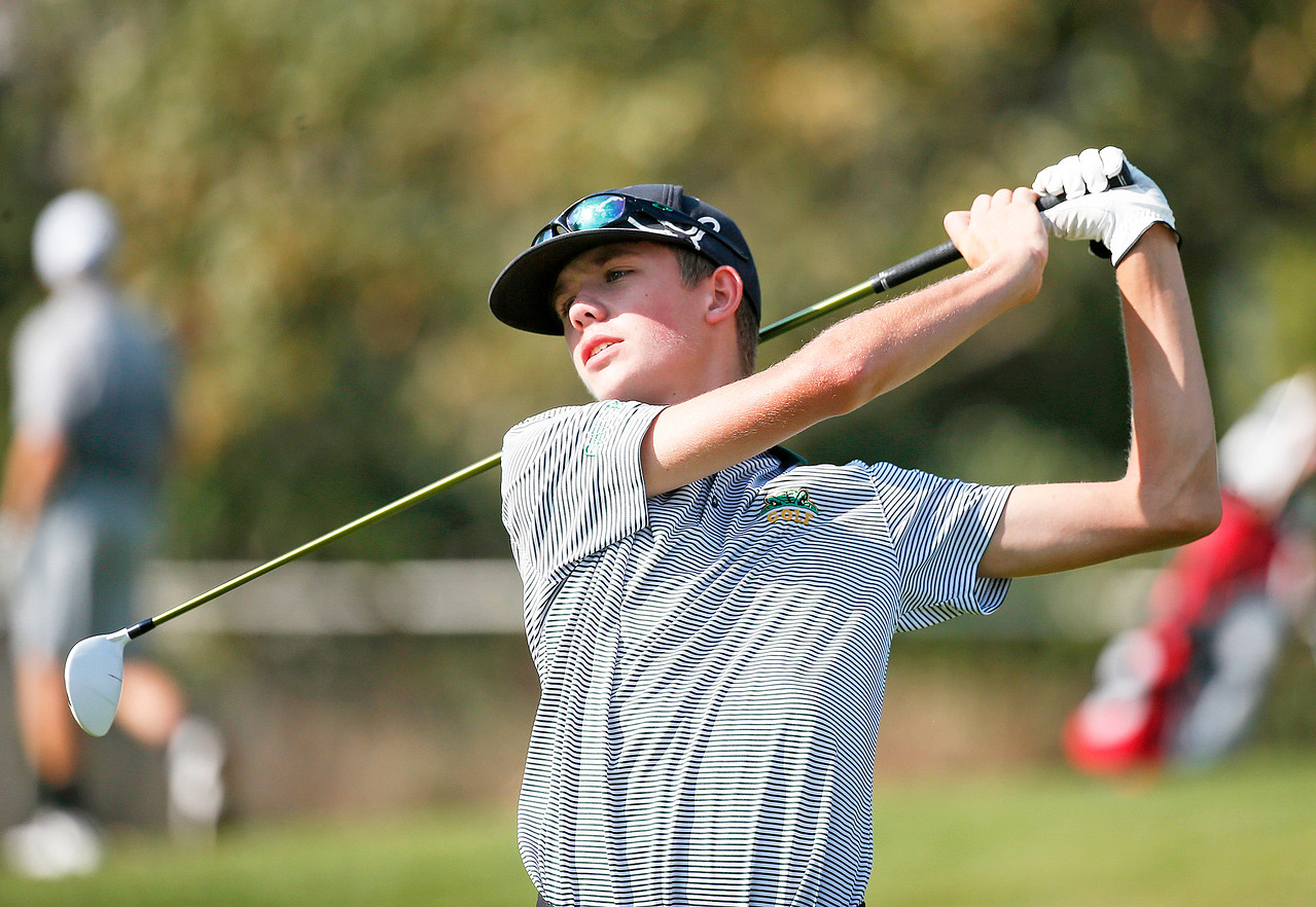 Crystal Lake South's John Lischynsky tees off during the Dundee-Crown Charger Boys Golf Invitational at Randall Oaks Golf Club on Saturday, 9/16/17 in West Dundee, Illinois. John Konstantaras photo for Shaw Media
