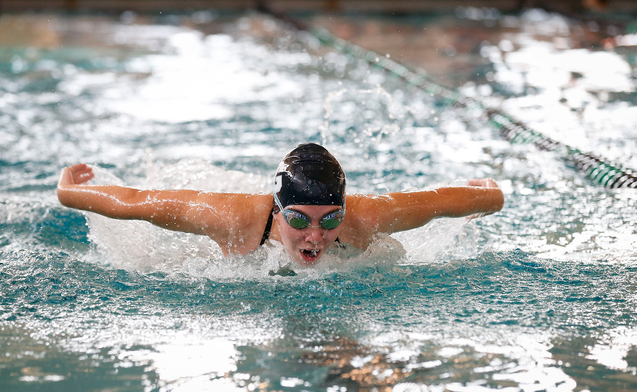 Ayden Donfris, from Cary-Grove, swims the 200 yard medley relay during the Woodstock Swimming Invite at Woodstock North High School on Saturday, 9/16/17 in Woodstock, Illinois. John Konstantaras photo for Shaw Media