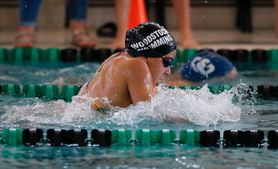 Lucia Alcazar, from Woodstock, swims the breaststroke in the 200 yard IM during the Woodstock Swimming Invite at Woodstock North High School on Saturday, 9/16/17 in Woodstock, Illinois. John Konstantaras photo for Shaw Media