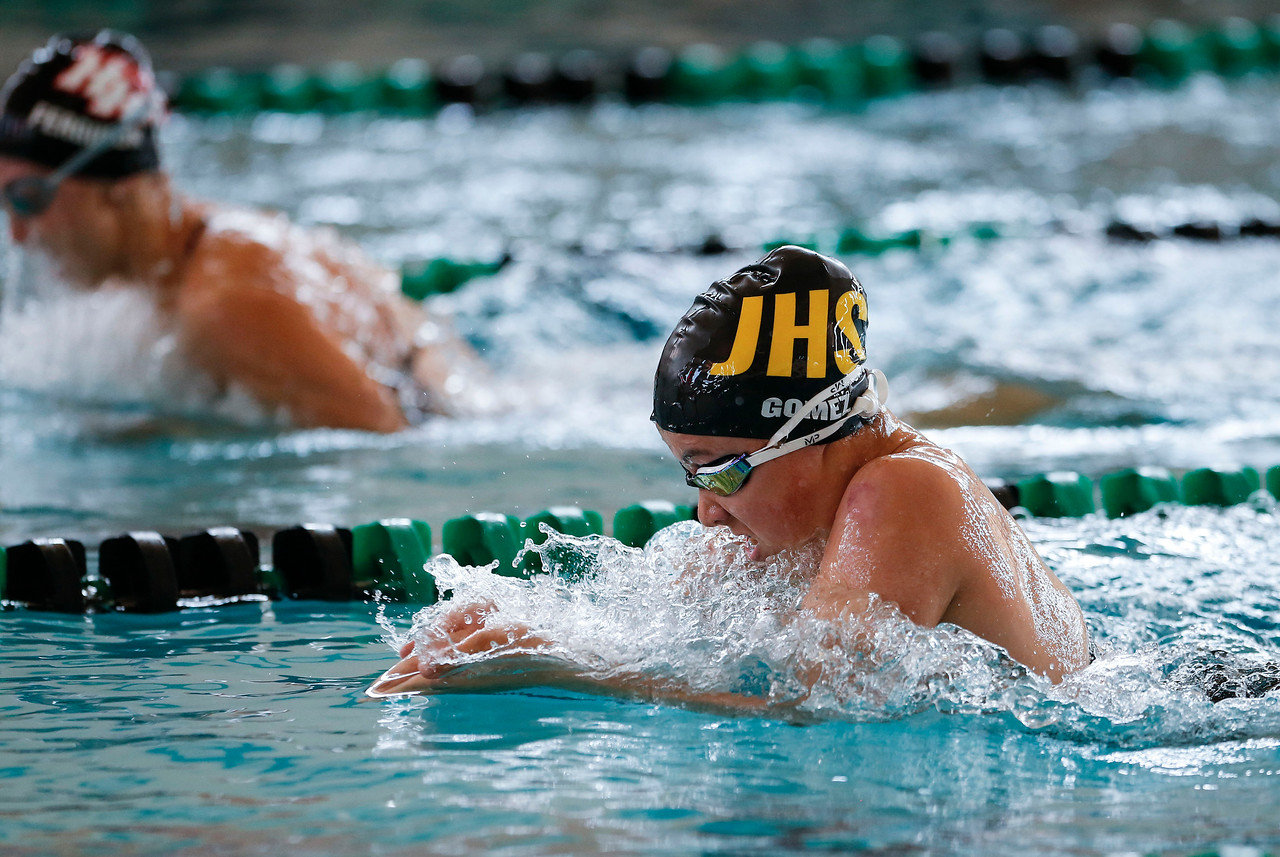 Atzi Gomez, from Jacobs, swims the breaststroke in the 200 yard IM during the Woodstock Swimming Invite at Woodstock North High School on Saturday, 9/16/17 in Woodstock, Illinois. John Konstantaras photo for Shaw Media