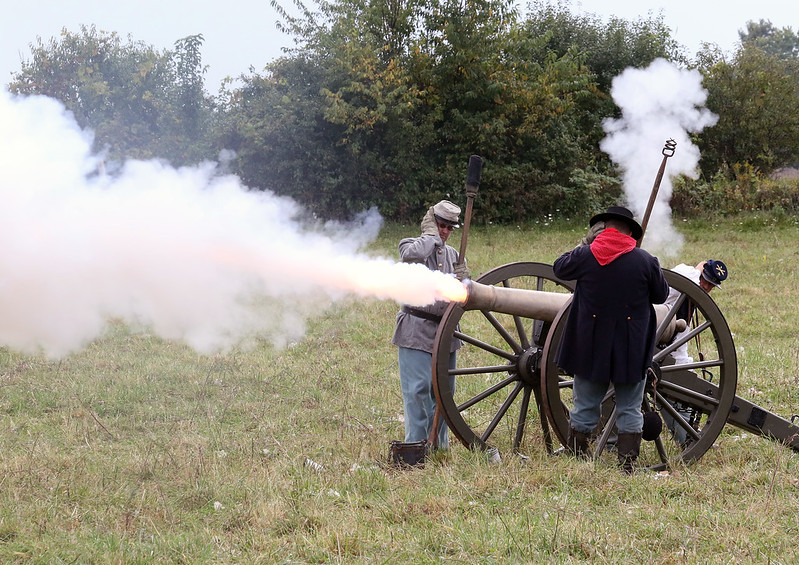 Candace H. Johnson-For Shaw Media Soldiers from the Chicago Light Artillery shoot off a cannon during Hainesville's Civil War Encampment & Battle at the Northbrook Sports Club in Hainesville.