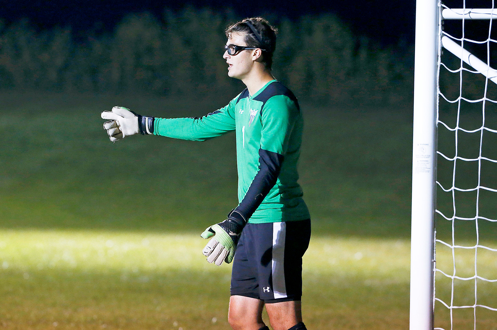 John Konstantaras - for Shaw Media Goalie Nicholas Craun (1) from Johnsburg during the second half of their game against Harvard on Tuesday, September 19, 2017 in Harvard, Illinois. The Hornets defeated the Skyhawks 1-0.