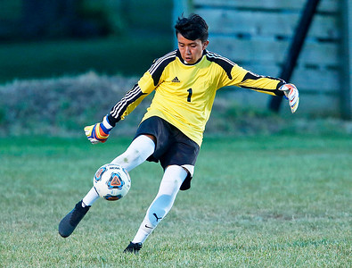 John Konstantaras - for Shaw Media Goalie Hugo Escobar (1) from Harvard clears a ball during the first half of their game against Johnsburg on Tuesday, September 19, 2017 in Harvard, Illinois. The Hornets defeated the Skyhawks 1-0.