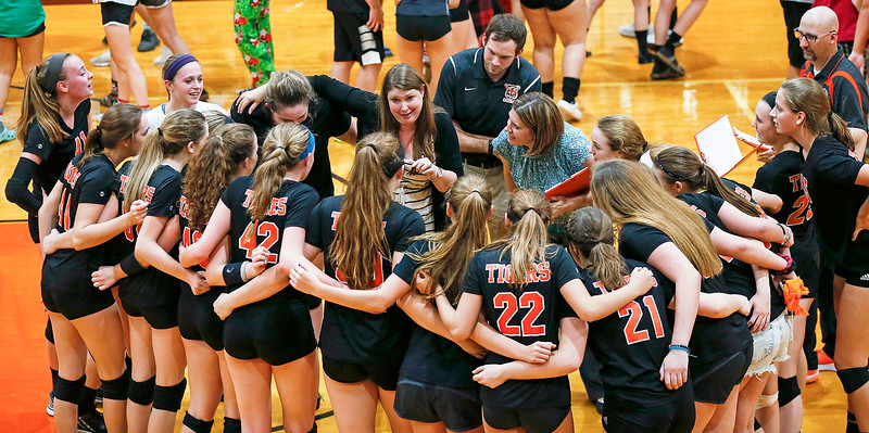 Crystal Lake Central head coach Lisa Brunstrum talks to her players after beating Huntley in 2 games at Crystal Lake Central High School on Thursday, September 21, 2017 in Crystal Lake, Illinois. The Tigers won the set in 2 games; 25-20, 25-23. John Konstantaras photo for Shaw Media