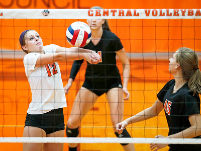 Kendall Lownds (12) from Crystal Lake Central bumps a ball at the net during their first game against Huntley at Crystal Lake Central High School on Thursday, September 21, 2017 in Crystal Lake, Illinois. The Tigers won the set in 2 games; 25-20, 25-23. John Konstantaras photo for Shaw Media