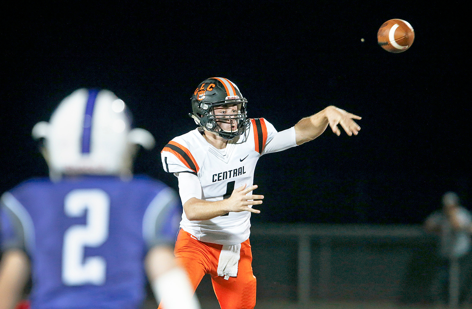 Jacob Staples (1) from Crystal Lake Central passes during the second quarter of their game against Hampshire on Friday, September 22, 2017, in Hampshire, Illinois. John Konstantaras photo for Shaw Media