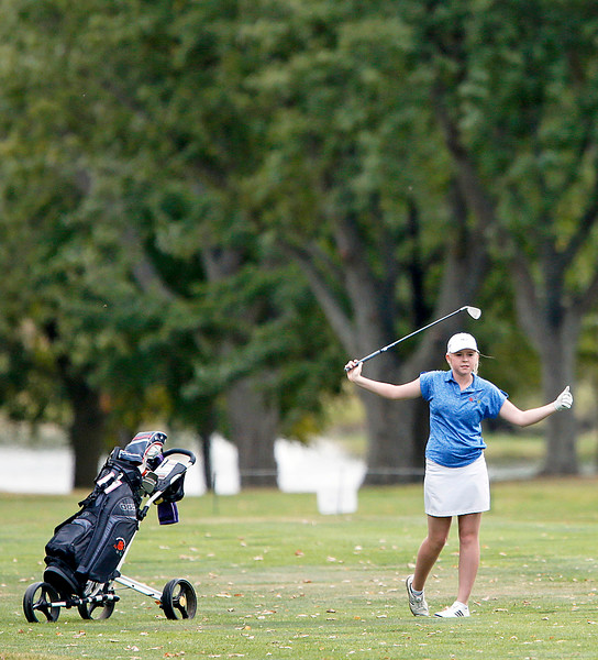 John Konstantaras - for Shaw Media Crystal Lake Coop's Molly Lyne hits onto the green from the 6th fairway during the Fox Valley Conference Tournament at Crystal Woods Golf Club on Wednesday, September 27, 2017 in Woodstock, Illinois. Crystal Lake Coop won the tournament and Lyne won the individual title.