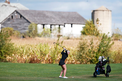 John Konstantaras - for Shaw Media Huntley's Katie Matustik hits from the first fairway during the Fox Valley Conference Tournament at Crystal Woods Golf Club on Wednesday, September 27, 2017 in Woodstock, Illinois. Crystal Lake Coop won the tournament and Molly Lyne won the individual title.