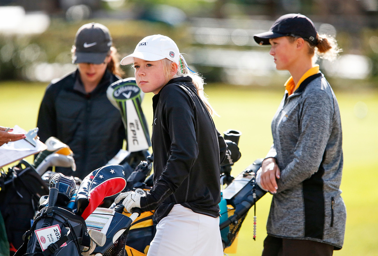 John Konstantaras - for Shaw Media Crystal Lake Coop's Molly Lyne waits to tee off on the first hole during the Fox Valley Conference Tournament at Crystal Woods Golf Club on Wednesday, September 27, 2017 in Woodstock, Illinois. Crystal Lake Coop won the tournament and Lyne won the individual title.