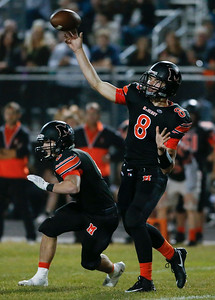 Patrick Breisch (8) from McHenry completes a pass during the first quarter of their game against Prairie Ridge at McHenry High School on Friday, September 29, 2017 in McHenry, Illinois. John Konstantaras photo for Shaw Media