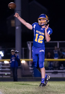 Johnsburg High School quarterback Adam Jayko drops back for a pass against conference rival Richmond-Burton Friday, September 8, 2017 at Johnsburg High School in Johnsburg. Johnsburg goes on to win 34-10. KKoontz- For Shaw Media