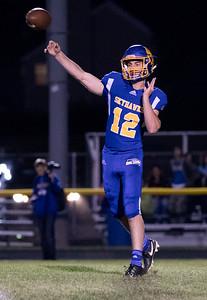 Johnsburg High School quarterback Adam Jayko drops back for a pass against conference rival Richmond-Burton Friday, September 8, 2017 at Johnsburg High School in Johnsburg. Johnsburg goes on to win 34-10. KKoontz- For Shaw Media