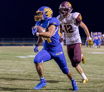 Johnsburg High School receiver Nico LoDolce makes the catch and streaks down the sidelines for the touchdown against conference rival Richmond-Burton Friday, September 8, 2017 at Johnsburg High School in Johnsburg. Johnsburg goes on to win 34-10. KKoontz- For Shaw Media